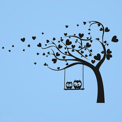 Hearts Owls Tree WALL STICKER 56 Colours Baby Kids Bedroom Wall Decoration KIDS7
