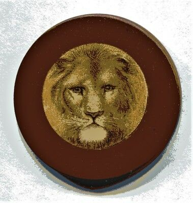 Antique Red Lion Head Clay Poker Chip- Early 1900's