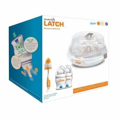 Munchkin Latch Microwave Steriliser Set Natural Touch with 2 Bottles + Brush