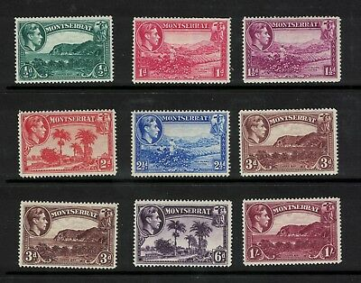 Montserrat 1942 Values to 1 s SG. 101a-108a +106ab  Cat £17.90 p14 Mint Hinged