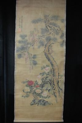 """Very Vintage Large Fine Chinese Scroll Painting Flowers Marked """"JiangTingXi"""""""