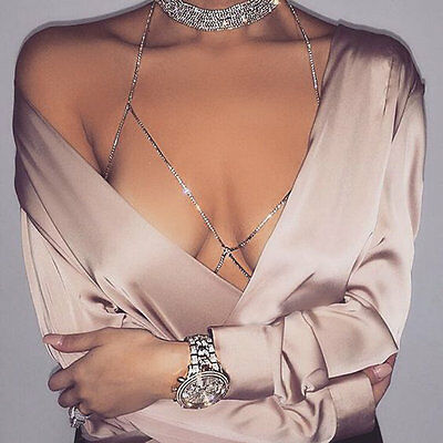 Sexy Electroplated Women Shiny Crystal Rhinestone Chest Body Chains Jewelry 8a