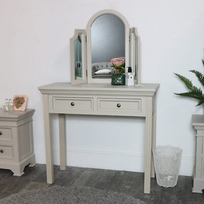 Handpainted taupe-grey dressing table with tabletop mirror bedroom furniture set