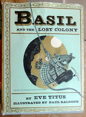 Basil And The Lost Colony: Rare Children Book Signed by Eve Titus & Basil Mouse