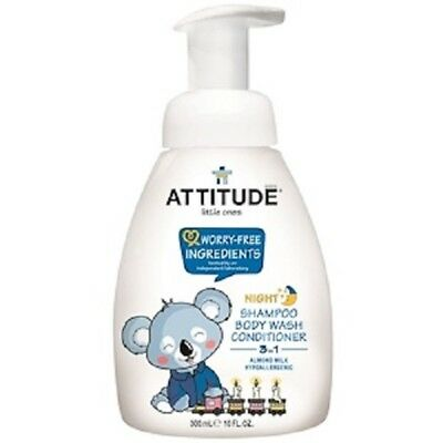 ATTITUDE, Little Ones, 3 in 1 Shampoo, Body Wash, Conditioner, Night, Almond Mil