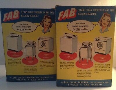 """Fab"""" Laundry Detergents  (2)  Very Rare, Vintage Full & Sealed !!!"""