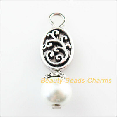 4 New Oval Flower Charms White Glass Beads Pendants Tibetan Silver Tone 9.5x27mm