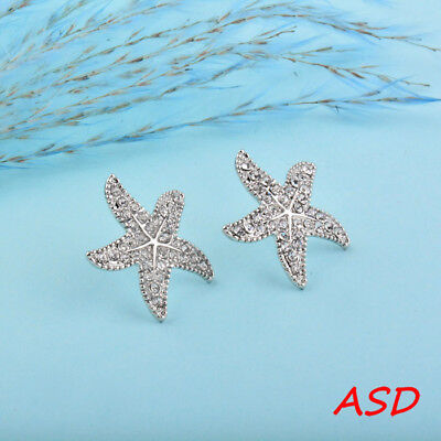 Wholesale 10pcs Glitter Gold Silver Starfish Flower Cubic Zirconia Ear Stud