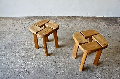 Pair Of Mid Century French Pine Stools