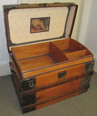 Antique Steamer Trunk Vintage Victorian Flat Top Mid Size Wooden Chest Tray& Key