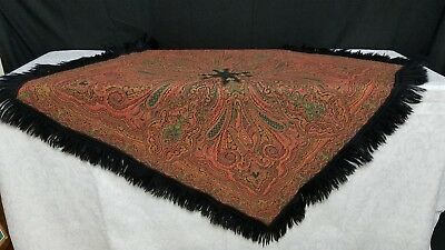 Antique Dutch Paisley shawl or piano / table cover.