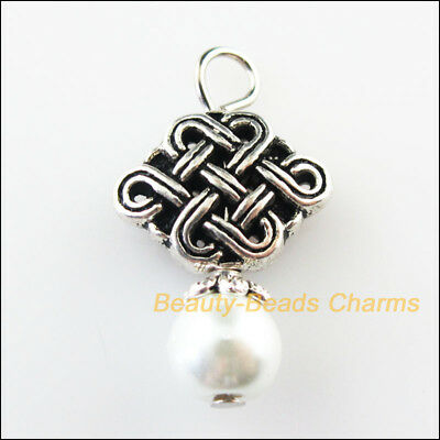 3 New Chinese Knot Charms White Glass Beads Pendants Tibetan Silver Tone 16x26mm