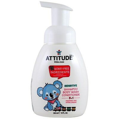 ATTITUDE,Little Ones,3 in 1 Shampoo,Body Wash,Conditioner,Fragrance Free,300 ml