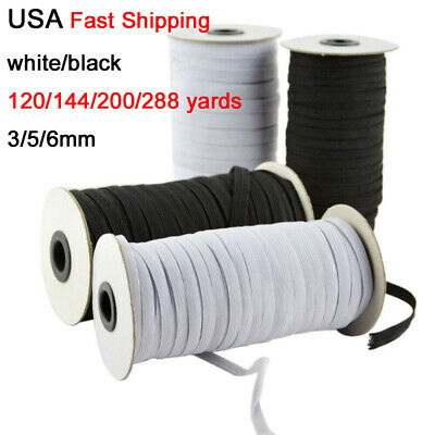 120 yards Flat Elastic Band 3/5/6 mm Rubber Strap Stretch Sewing Making In Stock