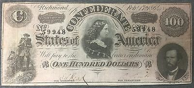 $100 CONFEDERATE NOTE - RICHMOND VA FEB 17th 1864 - NO FOLDS