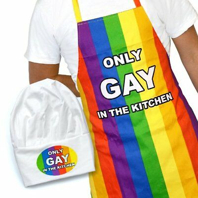 Only Gay In The Kitchen Cooking Apron Chef Hat Novelty Set Pride Rainbow BBQ UK