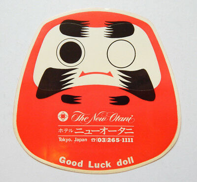 The New Otani Hotel Tokyo Japan Good Luck Doll Decal (1970s)