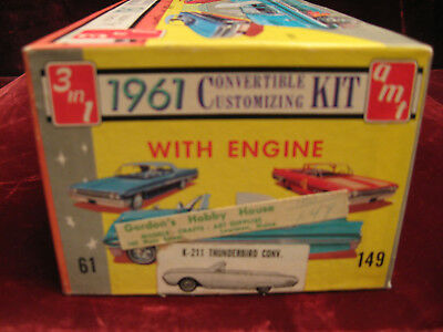 RARE 1st Issue 61 Ford Thunderbird Conv 3in1 Model/Kit AMT USA #K211Time Capsule