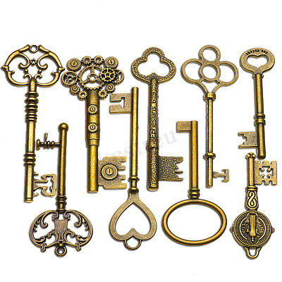 9 PCS BIG Large Antique Vtg old Brass Skeleton Keys Lot Cabinet Barrel Lock  !