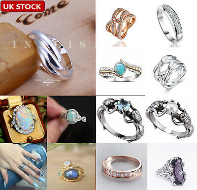 UK Women Fashion 925 Sterling Silver Ring Jewelry Wedding Engagement Ring Band