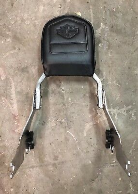 Harley Sportster Chrome Sissy Bar w/ Leather Back Rest w/ Quick Connect
