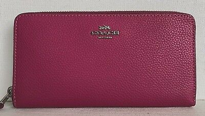 New Coach 16612 Accordion Zip Pebbled Leather wallet Cerise