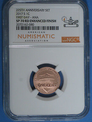 2017-S Enhanced Finish Lincoln Cent NGC SP 70 ANA First Day Label