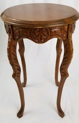 Vintage Louis XVI round inlaid accent table French Chippendale marquetry