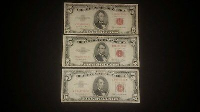 3 Pc Lot 1953 1963 $5 Five Dollar Red Seal United States Legal Tender Note Money