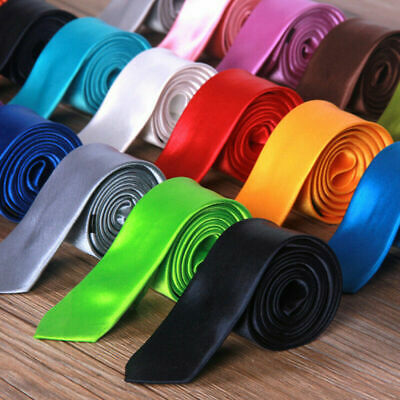 Mens Skinny Tie Plain Casual Slim Necktie Narrow Party Wedding Formal Neck Tie