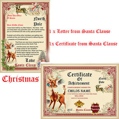 Christmas Letter From Santa With Rudolph/Certificate good list Rudolph NorthPole