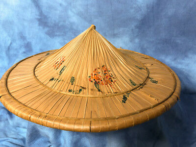 "Vintage 18"" Coolie Hat Rice Patty Farmer, Bamboo Straw, Hand Made and Painted"