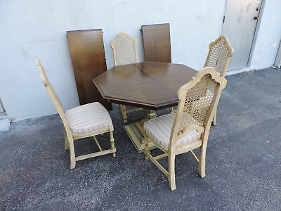 Painted Oak Dining Table with Four Caned Chairs and Two Leaves 6300