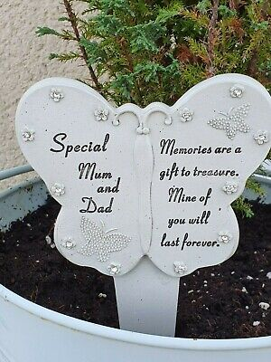 Special Mum And Dad Diamante Graveside Butterfly Ornament Memorial Plaque