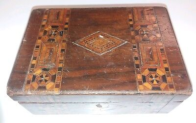 Early Antique Tunbridge ware wooden inlaid box.