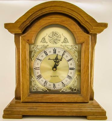 Daniel Dakota Oak Finish Tempus Fugit Quartz Mantel Clock - Excellent Condition!