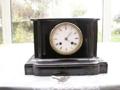 Lovely Black Slate French Mantle clock Bell Strike