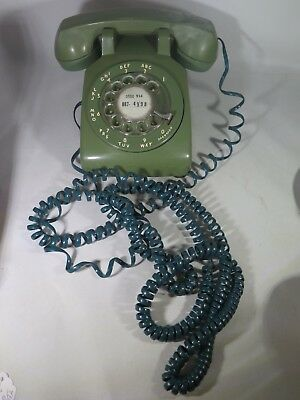 OLIVE GREEN Western Electric ROTARY TELEPHONE Bell System Desk Phone