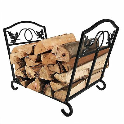 Fireplace Log Holder Wrought Iron Indoor Fire Wood Stove Stacking Rack Logs