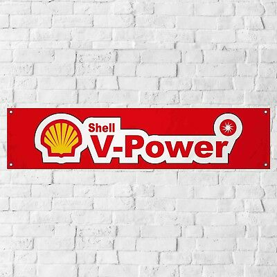 Shell V Power Banner Petrol Gasoline Fuel Garage Workshop PVC Sign Display