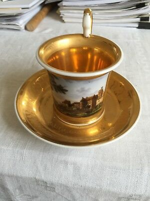 Antique Russian Porcelain Cabinet Cup and Sauser, Gardner ca. 1830
