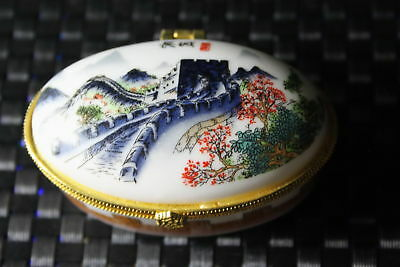 Handwork Collectable Porcelain Painting Majestic Great Wall & Scenery Noble Box