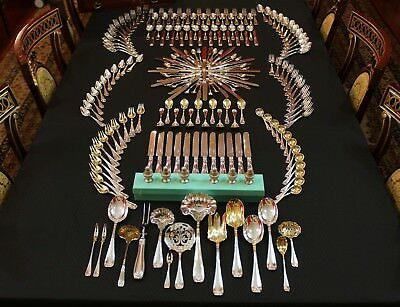 RARE Tiffany New York Colonial Sterling Flatware 208 Piece Silverware Set For 12