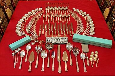 Tiffany San Lorenzo Sterling Silver Flatware 123 Pce Full Silverware Set For 12