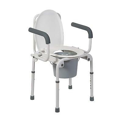 DMI Deluxe Commode Chair Drop Arm Commode For Easy Transfers, Easy Asssembly