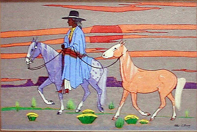 "Antique Navajo Tempera Painting ARTHUR C BEGAY 'I Won  a Horse' 14"" x 20"""