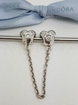 New Authentic Genuine Pandora Disney Heart Hearts of Mickey Safety Chain s925