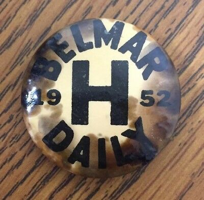 RARE Vintage 1952 Belmar NJ Button Pin Back Beach Badge Daily Tag - Jersey Shore