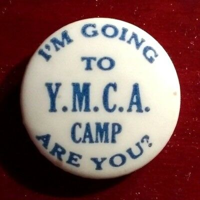 """Vtg """"I'm Going To YMCA Camp Are You?"""" Old Swimming Pinback Button Badge"""