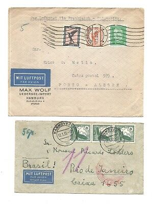 2 Germany Air Mails  Covers To Brazil Zeppelin Katapult 1938 & Air Mail 1933